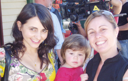 A gracious Pia Miranda between takes with Jonah and Lindy